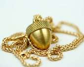 Long Gold Acorn Pendant Necklace, Living Locket Acorn Gold Necklace, Acorn Locket Gold, Acorn Pendant Cremation Necklace, Ashes Mourning