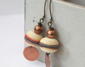 Ivory Earrings, Copper Drop Earrings, Lampwork Earrings, Glass Bead Earrings