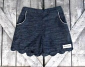 Girls Custom Scallop Edge Shorts- Denim Blue- Baby Girl Shorts- Toddler Shorts- Tween Shorts- 3 6 12 18 Mths- 2 3 4 5 6 7 8 10 12 Years