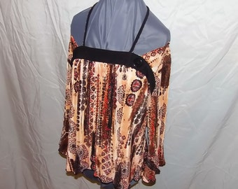 Halter, Boho Gypsy, Off Shoulder Festival Halter Top Upcycled Fashion, Recyled Clothing, Repurposed Peasant Top, Size Large