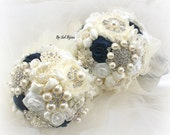 Bridesmaids Bouquets, Brooch Bouquets, White, Ivory, Silver, Navy Blue, Elegant Wedding, Maid of Honor, Pearls, Crystals, Vintage Style