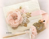 Guest Book, Blush, Gold, Ivory, Lace, Wedding, Signature Book, Signing Pen, Cream, Tan, Champagne, Pearls, Crystals, Vintage Wedding