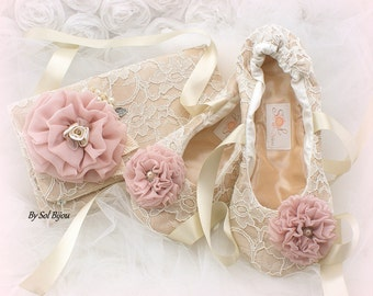 Clutch, Ballet Flats, Champagne, Ivory, Rose, Blush, Elegant Wedding, Bridal, Handbag, Shoes, Lace, Crystals, Pearls, Vintage Style