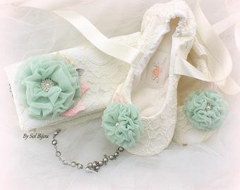 Ivory Purse, Ivory Ballet Flats, Pink, Mint, Blush, Handbag, Pearl Strap, Ballet Slippers, Elegant, Vintage Wedding, Lace Purse, Lace Flats