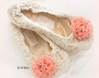 Lace Flats, Ballet Flats, Champagne, Tan, Beige, Ivory, Coral, Lace Up, Elegant Wedding, Flower Girl, Maid of Honor, Pearls, Crystals