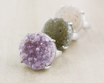 Ethereal Druzy Ring - Choose Your Round Druzy - Sterling Silver