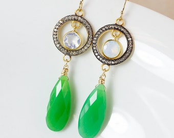 Gold Green Chrysoprase Earrings - Teardrop - Aqua Quartz, Glamour Earrings