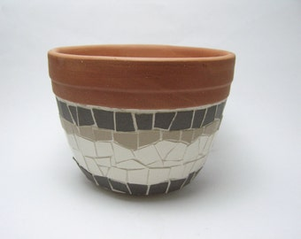 little ceramic mosaic planter - grey