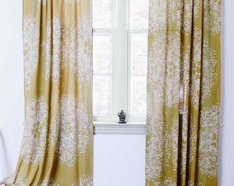 """Yellow curtains yellow mustard window curtain treatment with natural dye home living decor housewares ONE panel 84"""" 96"""" 108"""" - Forest Tree"""