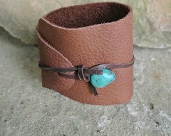 Justhipstuff Leather Turquoise Beaded Wrap Bracelet, Bohemian Shabby Chic Style