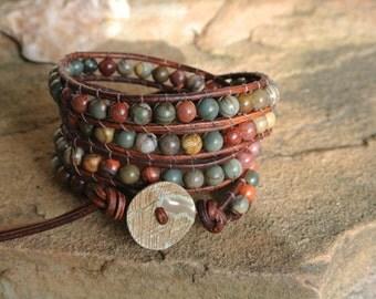 Sundance Jasper Beaded Natural  Leather Wrap Bracelet