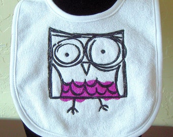 Customize this- Embroidered  Baby Bib of cool Owl