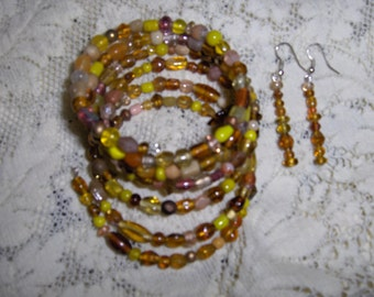 Sun Moon Stars Glass and Ceramic Bead Gypsy Bracelet and Earring Set
