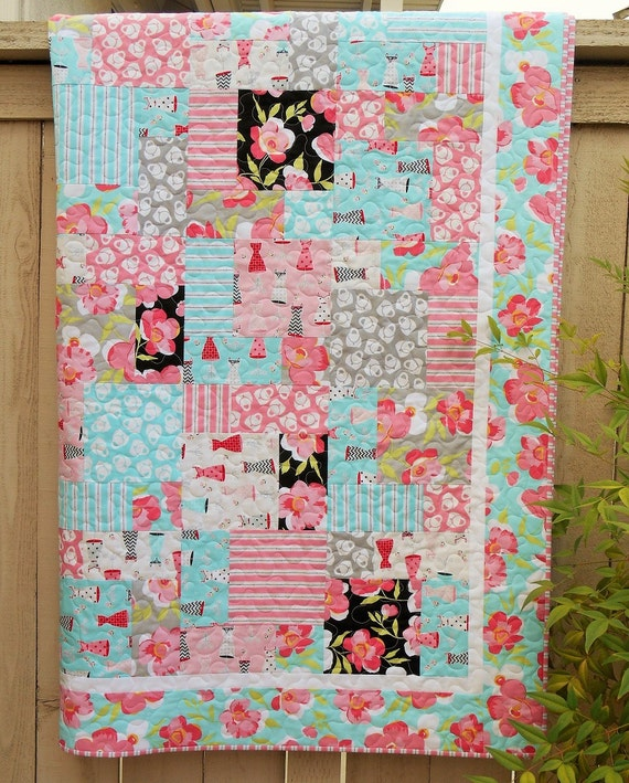 Handmade Quilt for Girls in Pink Aqua and Grey with Flirty Dresses Purses and Flowers, Girls Bedroom Decor, Baby Toddler or Young Girl Quilt