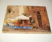 Vintage Look Print on Canvas - Pizzeria Cafe Scene -  Crafts, Art, Wall Hanging, Kitchen Art, Collectible