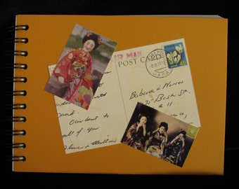Junk Journal,Art Journal,Diary Notebook,Vintage Geisha Journal,Blank Art Journal,Scrapbook Journal,Spiral Bound Journal, 35 Page Memory Book