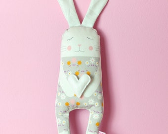 softie toy bunny in white with felt heart