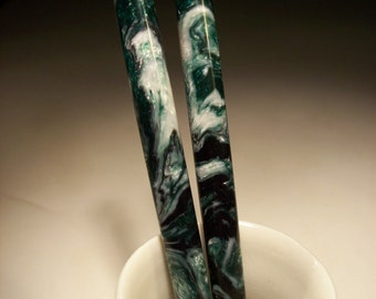 "Hair sticks Snowy Jade Lava Explosion 5 1/8"" - 5 1/4"""
