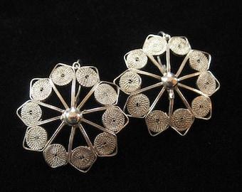 Sterling Filigree Earrings for Pierced Ears, Front Closing