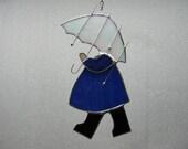 Umbrella girl stained glass suncatcher
