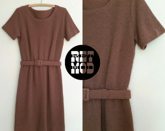 Caramel Brown Tweed Texture Short 60s Vintage Dress with Matching Belt