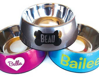 Custom Dog Food Bowl - Water Bowl - Doggie Dish - Removable insert - Bone - Name - Personalized