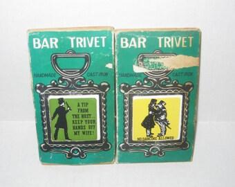 Vintage Cast Iron Bar Trivets - Set of 2 - Made in Japan