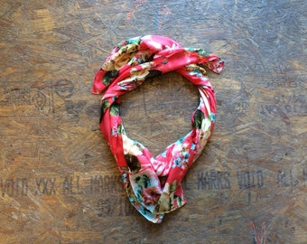 Buy 1 + Get 1 FREE = Tropical Cabana Scarf, Red Pink Blue Yellow Scarf, Light Weight, 100% Cotton Scarves, Gift Ideas for Her Women