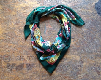 Buy 1 + Get 1 FREE = Flower Leopard Print Scarf, Green Pink Blue Scarf, Light Weight, 100% Cotton Scarves, Gift Ideas for Her Women