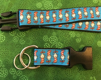Dr Seuss Cat in the Hat Lanyard with removable key chain end