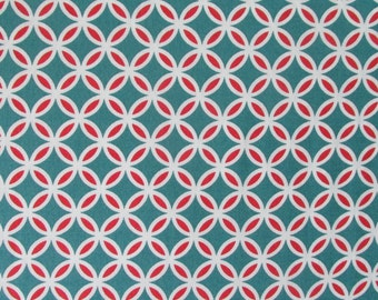In the Beginning Fabrics Red Circles on Teal from the RANUNCULUS FLORAL Collection- yards