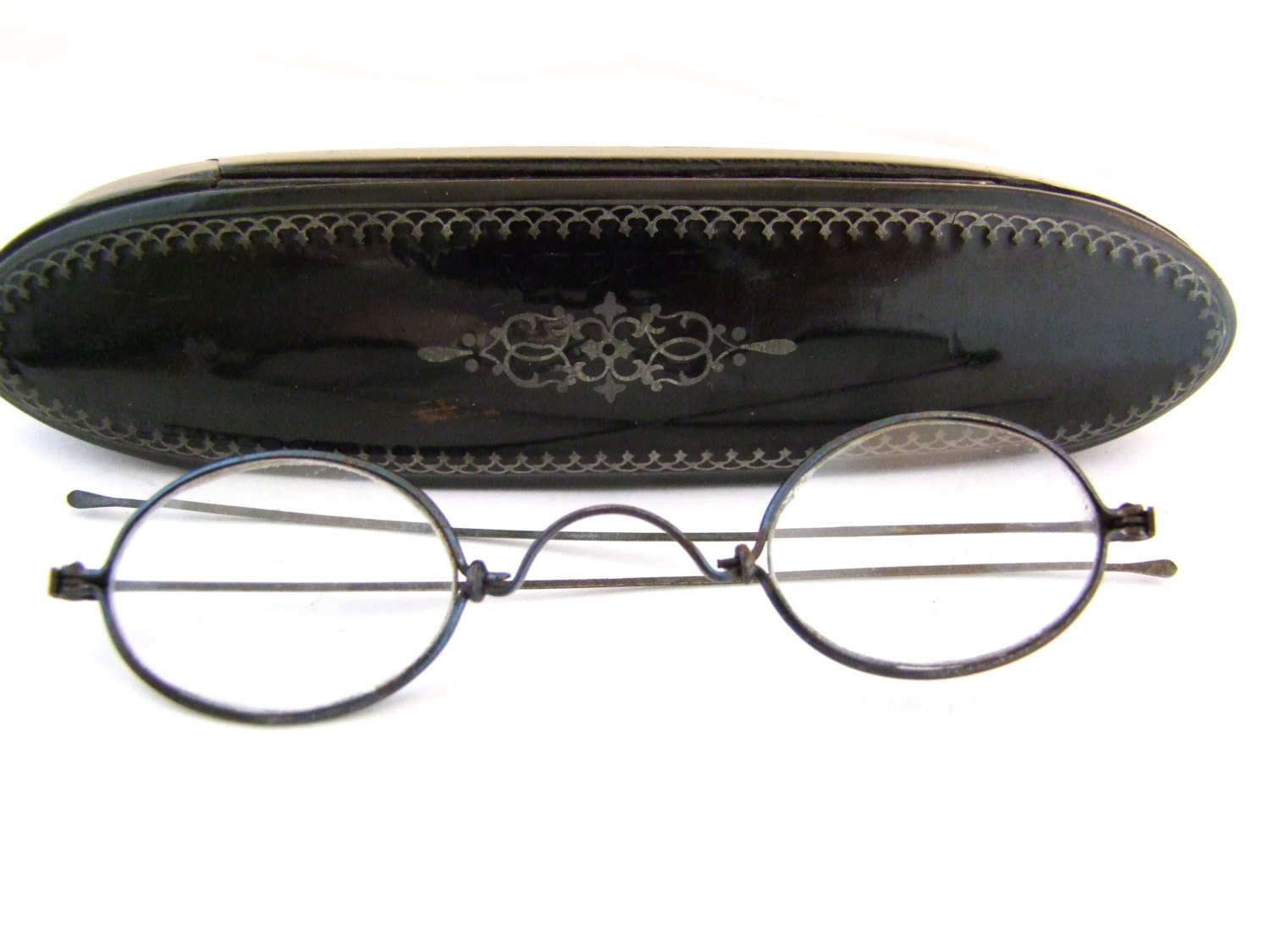 Rare Victorian Eyeglasses with antique coffin Case // 1800s Antique ...