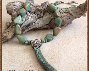 Abalone Pendant Necklace, Jasper and Abalone Necklace Set, Howlite Necklace, Shell Jewelry Set, Turquoise Necklace