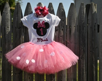 Minnie Mouse Tutu Outfit with Bow (great for baby's birthday!)