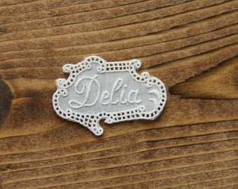 DELIA Vintage embroidered lace tag name personalise handcraft embellishment projects applicazioni ricamo pizzo broderie gift ideas by yebisu