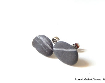 Mermaid Post Earrings - STONES - Organic Sea Pebbles Earrings with white Genuine Natural Amalfi Sea Pebbles / recycle / reuse / nr 122