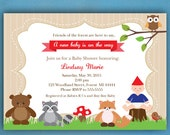 Woodland Baby Shower Invitations, Forest Friends Baby Shower Invitations, Gnome Baby Shower Invitations, PRINTED Invitations