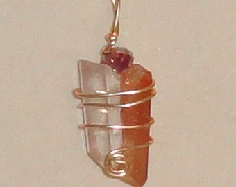 Wire Wrapped Tangerine & Quartz Crystal Point Pendant