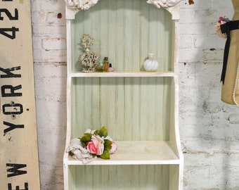 Painted Cottage Chic Shabby White Handmade Bookcase / Display Cabinet