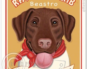 8x10 Lab Art - Ravenous Lab Beastro - Home of the Bottomless Bowl -  Art print by Krista Brooks