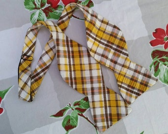 Vintage Bow Tie Mens Bow Tie Bowtie Plaid Bow Tie Self Tie Brown Orange Yellow White Hipster Preppy Geek Nerd Retro Vintage Mens Bowtie