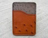 Ostrich hide front pocket wallet