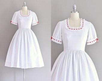 vintage 1950s dress • white dress • pique  dress • 50s party dress