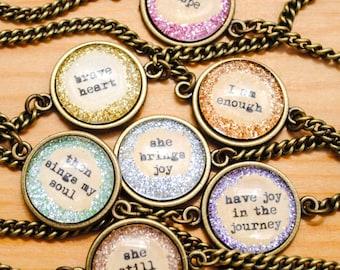 SAMPLE SALE - Glitter Word Art Round Bracelets - Quote Bracelets - Charm Bracelet - Rustic Jewelry