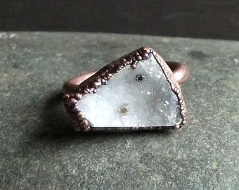 Druzy Crystal Quartz Ring Rough Stone Jewelry Copper Raw Stone Ring Midwest Alchemy Statement Ring
