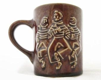 Dancing Sailors Hall Pottery Mug  #1314 Brown Glaze with White Interior Restaurant Ware
