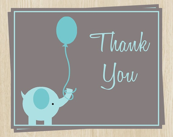 Elephant Thank You Cards Baby Shower Birthday Boys Blue