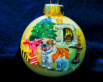 Hand Painted Ornament-Bull Dog W/3D Effect-Item 954