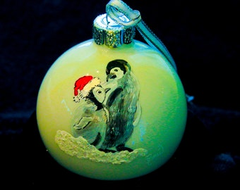 Hand Painted Ornament-2 Penguins-Item 959