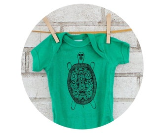 Fancy Turtle Baby Onepiece in Kelly Green, Cottln Infant Clothing, Short Sleeved Baby Bodysuit hand printed, Mexican Folk Art, Talevera Art